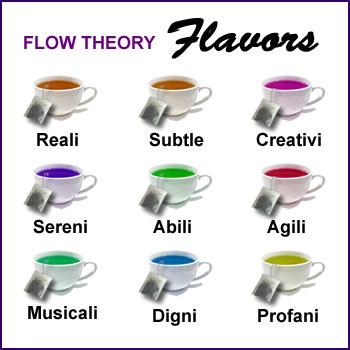 Flavors CD cover, featuring nine perfectly arranged tea cups with tea bags draped over the edge of each. Cups are labeled Reali, Subtle, Creativi, Sereni, Abili, Agili, Musicali, Digni, and Profani