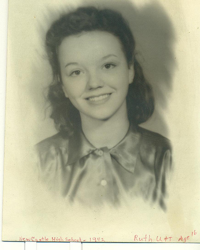 Faded black and white photo of my mom, with handwritten note in the bottom margin: New Castle High School 1942, Ruth Thompson - Age 16